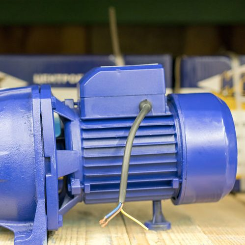 A Picture of a Blue Electric Ejector Pump.