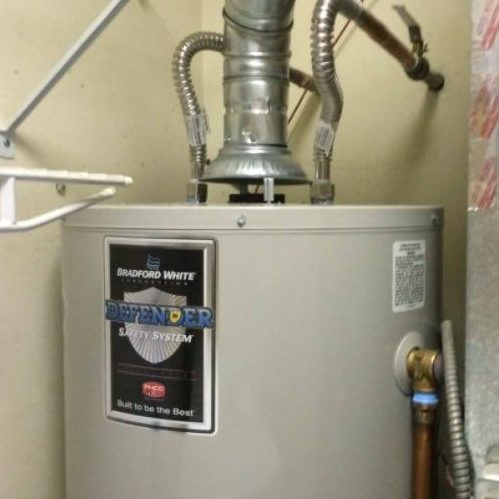A Picture of a Bradford White Electric Water Heater.